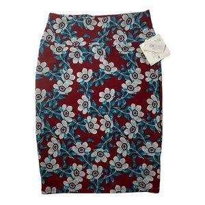 NWT LuLuRoe Cassie Maroon Floral Skirt S